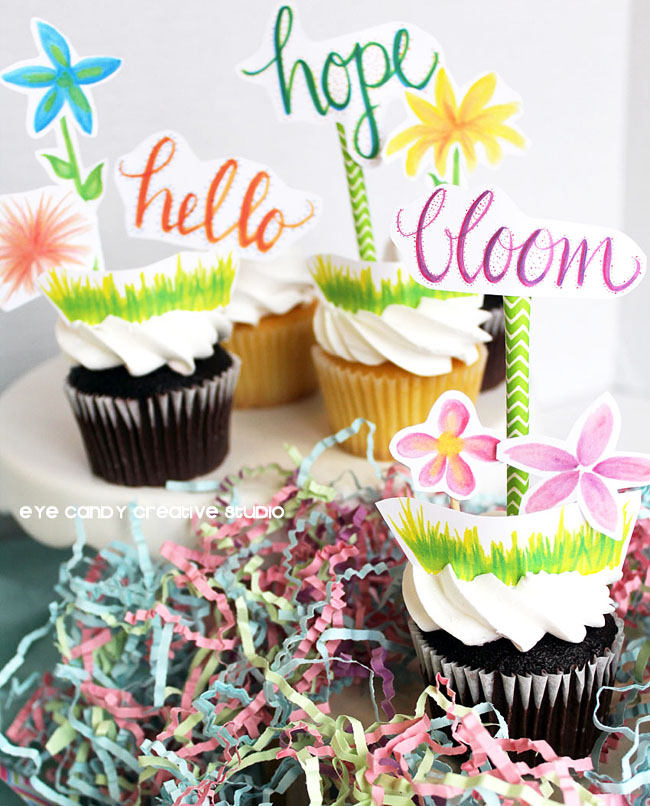 spring toppers, floral cupcake toppers, bloom, hello, hope, hand lettered
