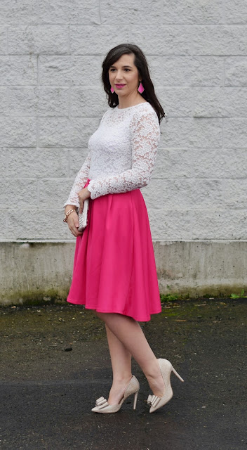Pink pleated skirt for Valentine's Date