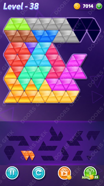 Block! Triangle Puzzle Champion Level 38 Solution, Cheats, Walkthrough for Android, iPhone, iPad and iPod