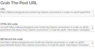 show URL, BB code and HTML link of your blog post