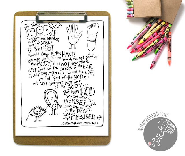 "Bible verse coloring page ""the body of Christ"" 1 Corinthians 12:14-16, 18"
