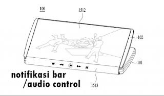 Tablet lipat LG  notifikasi bar atau audio control
