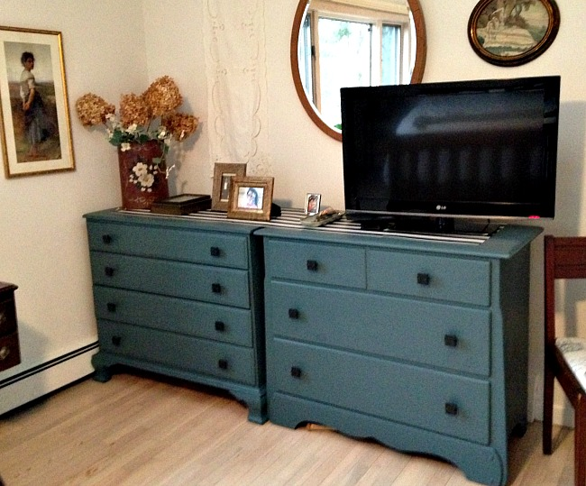 Mismatched Vintage Furniture Painted with Fusion Mineral Paint in Homestead Blue