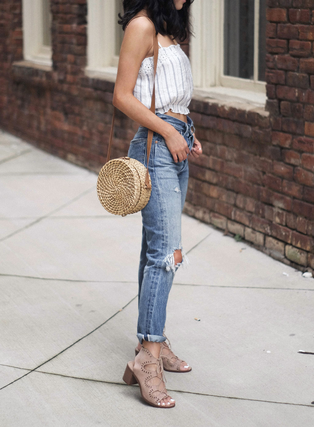 jeans summer outfit ideas | circle straw bag outfit | striped summer outfit cute