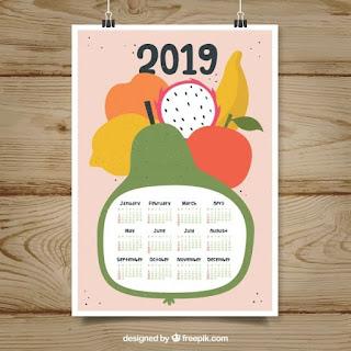 Bonito calendario 2019 con frutas Vector Gratis