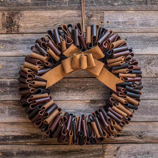 Christmas wreath, Leather wreath