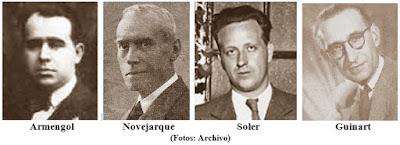 Los ilustres ajedrecistas Armengol, Novejarque, Soler y Guinart