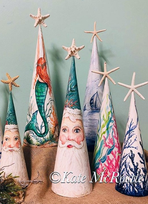 Coastal Theme Painted Cone Christmas Trees