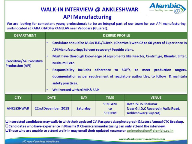 Production (API) job in Alembic Pharma
