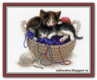 Скачать схему вышивки 1724 «Котята в корзине» Riolis