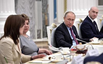 Vladimir Putin at the meeting with graduating class teachers.
