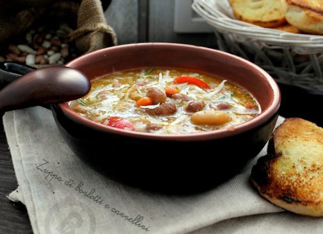 zuppa di fagioli, cannellini e borlotti