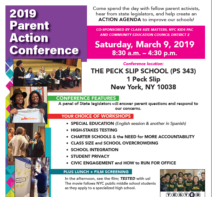 Save the date! Class Size Matters Parent Action Conference on Saturday March 9