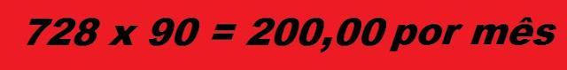 Banner 728 x 90 valor R$200,00 por mês