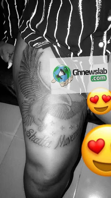 """Meet the beautiful  Lady who have her """"Shatta Movement Tattoo"""" on her private part"""