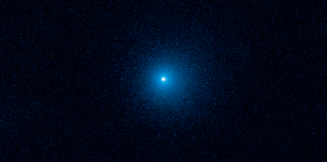 This Hubble Space Telescope image shows a fuzzy cloud of dust, called a coma, surrounding the comet C/2017 K2 PANSTARRS (K2), the farthest active comet ever observed entering the solar system. Credit: NASA, ESA, and D. Jewitt (UCLA)
