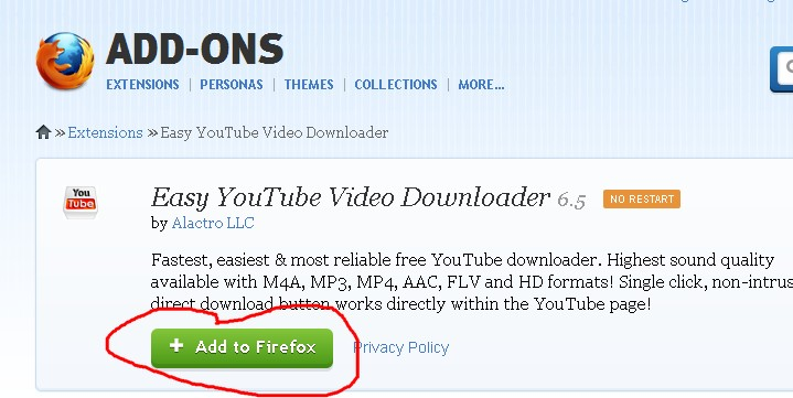 How to download youtube video in mp3 format manual guide how to do firefox browser will tray to install easy youtube video downloader press allow button to start it ccuart Images