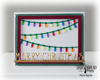 Our Daily Bread Designs Custom Dies: Snowflake Sky, Christmas Lights, Merry Christmas Border