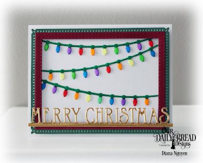 Our Daily Bread Designs Custom Dies: Snowflake Sky, Christmas Lights, Merry Christmas Border