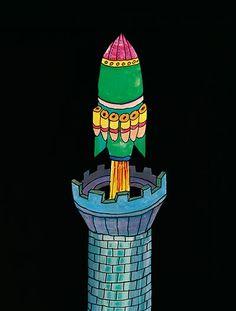 ilustración donde despega hacia la luna