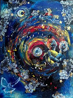 https://www.latelierdannapia.com/  la costellazione degli innamorati quadro acrilico 60 x 80 surrealismo cavallo colomba La constellation des amoureux surrealisme tableau toile acrilique colombe cheval etoiles didier delamonica