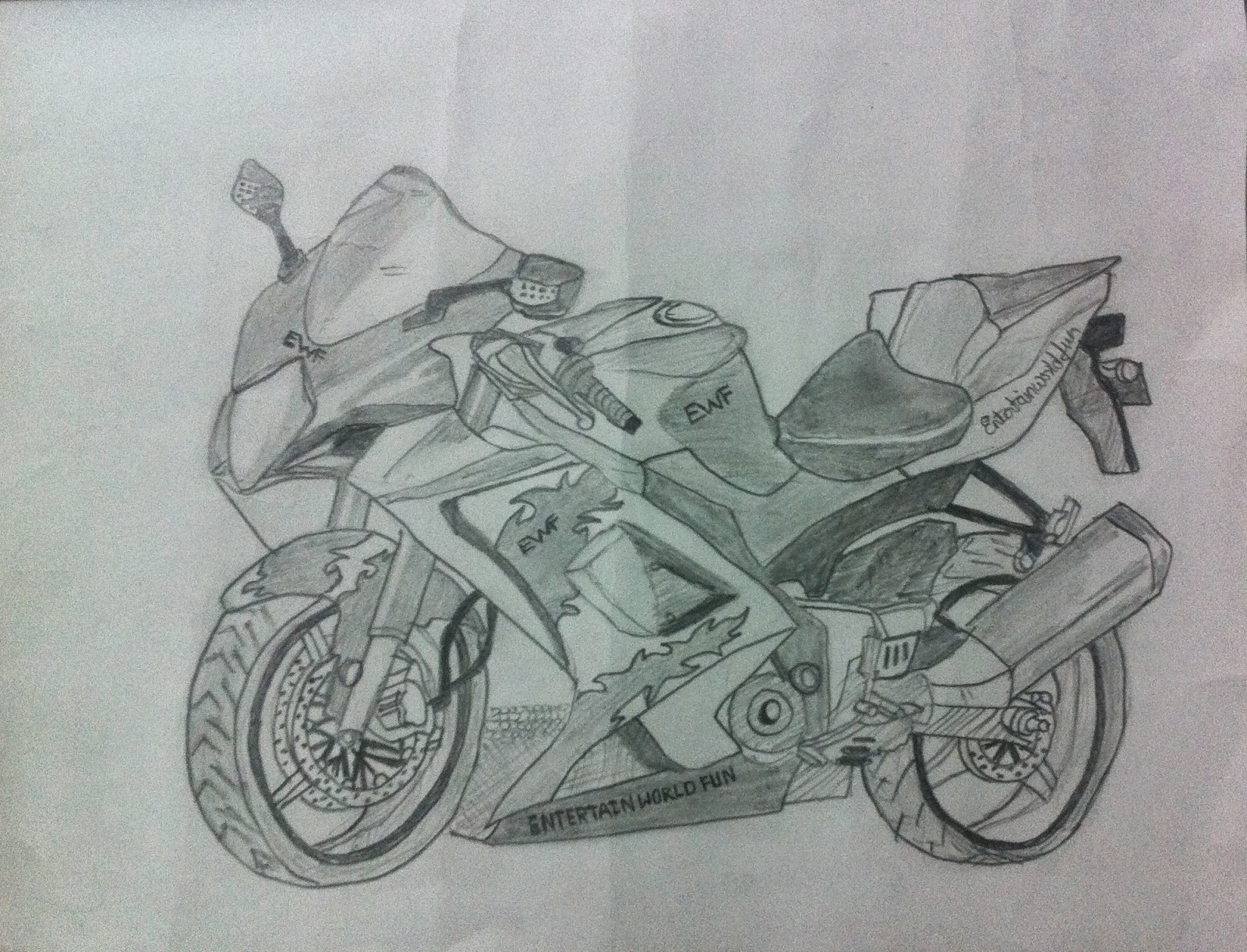 4 Best Drawing Techniques To Make Pencil Shading Bike Sketch