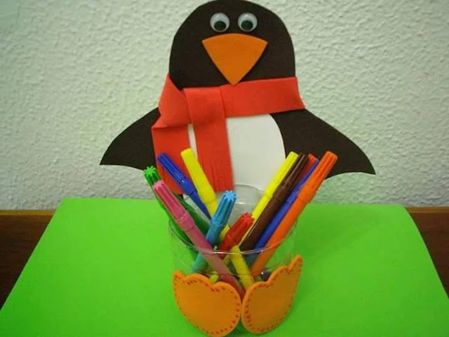 Idea to make something from bottle for kids : penguins pencils case