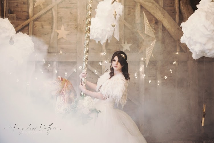 bride on carousel horse with smoke bomb
