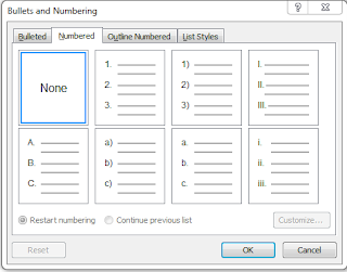 Bullet and numbering dialog box