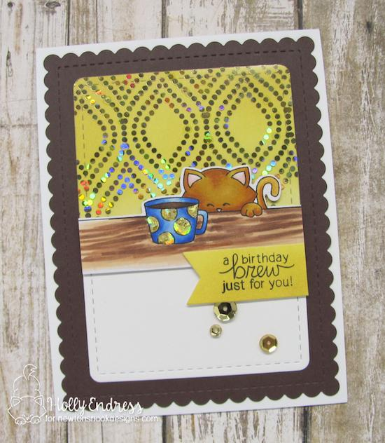 Newton's Nook Designs & Therm O Web Inspiration Week | Coffee & Cat Card by Holly Endress | Newton Loves Coffee Stamp Set by Newton's Nook Designs #newtonsnook #thermoweb