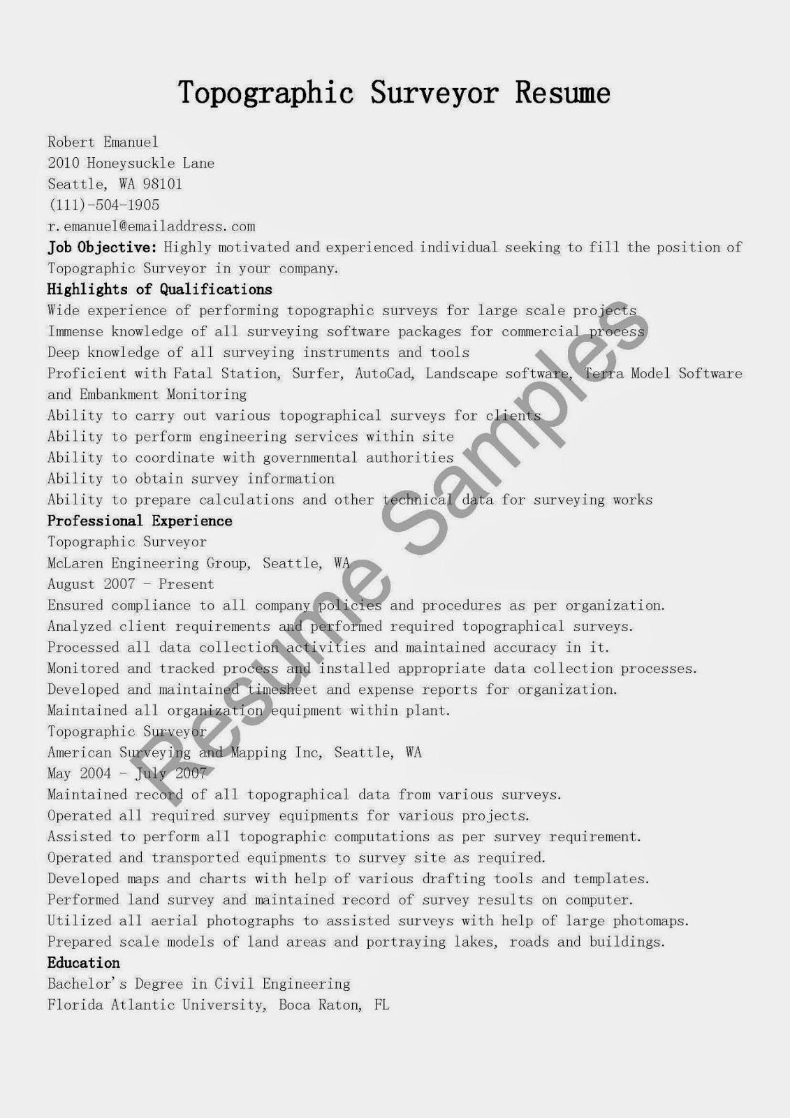 resume samples  building surveyor resume sample