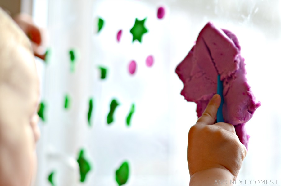 Play dough window art for kids from And Next Comes L