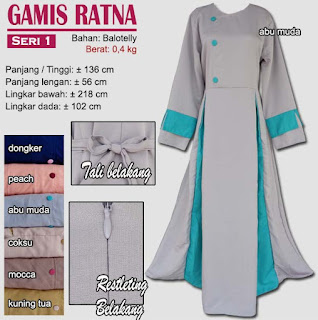 Gamis balotelly polos model simple - ratna seri 1