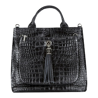 VVA Dahlia Moc Croc Black Leather Tote