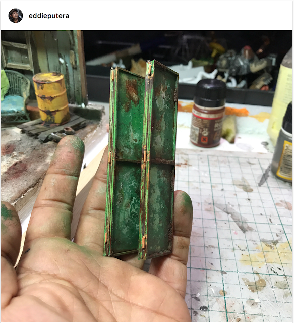 Weathered and rusted steel door - scale model