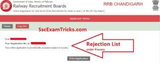 RRB Group D Admit Card 2018 Rejection List