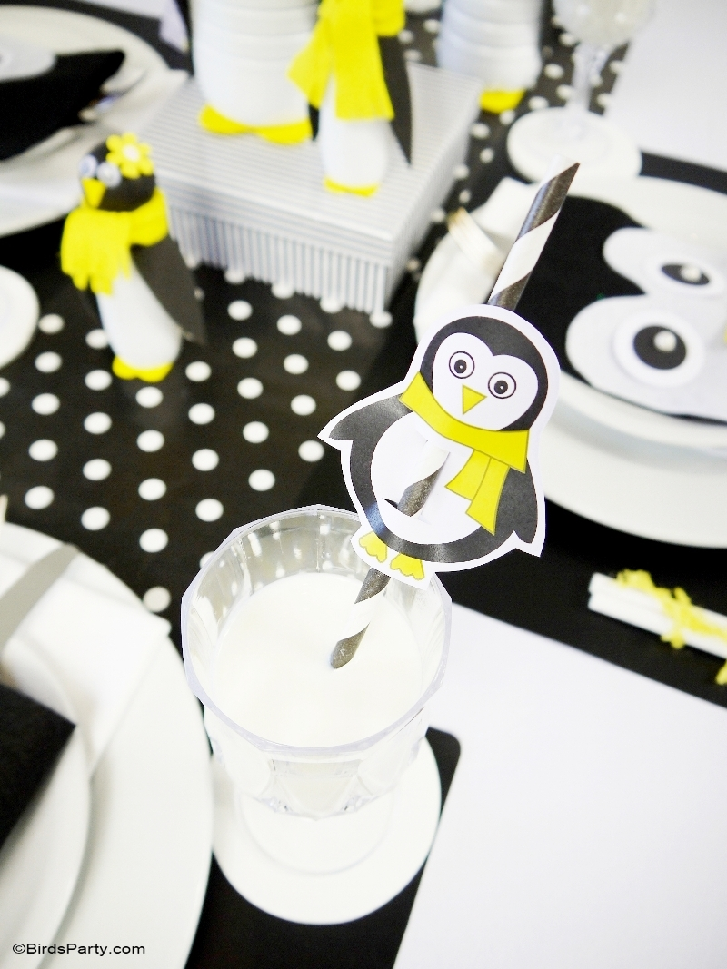 A Penguin Themed Kids Christmas Holiday Tablescape Party Ideas Party Printables Blog