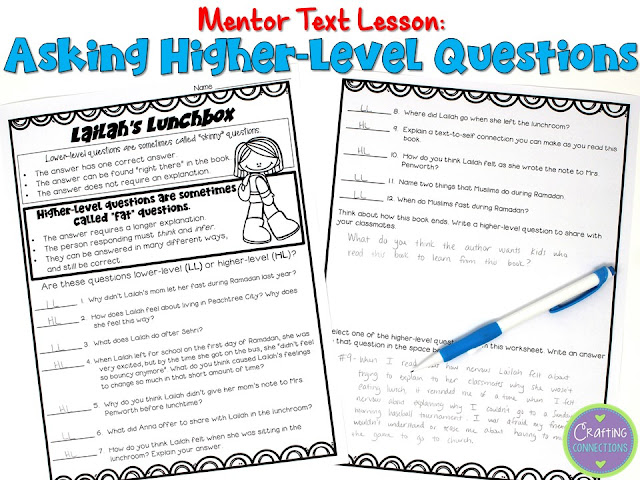 Lailah's Lunchbox: A Ramadan Story- This multicultural book is featured as a mentor text activity for teaching students how to ask higher-level questions. Includes a FREE follow-up worksheet!