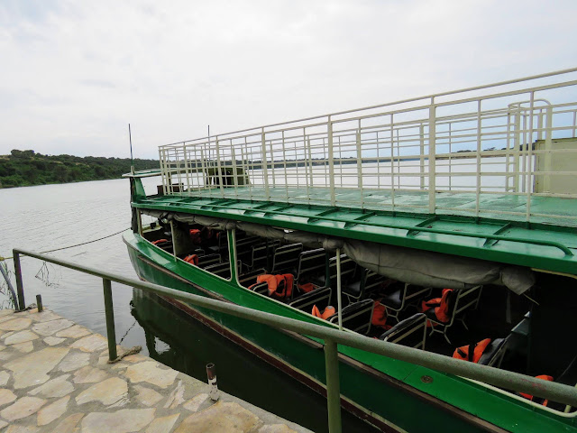 Boat equipped with life jackets for the cruise of the Kazinga Channel in QENP in Uganda