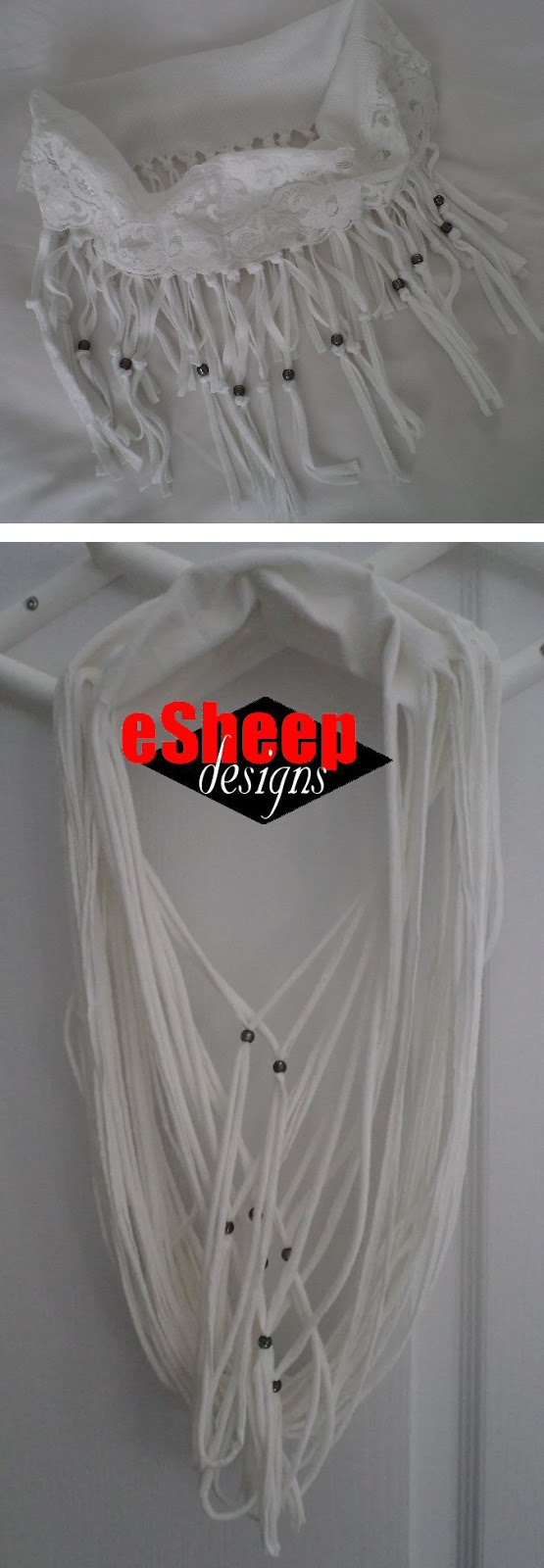 Upcycled t-shirt and tank scarves crafted by eSheep Designs