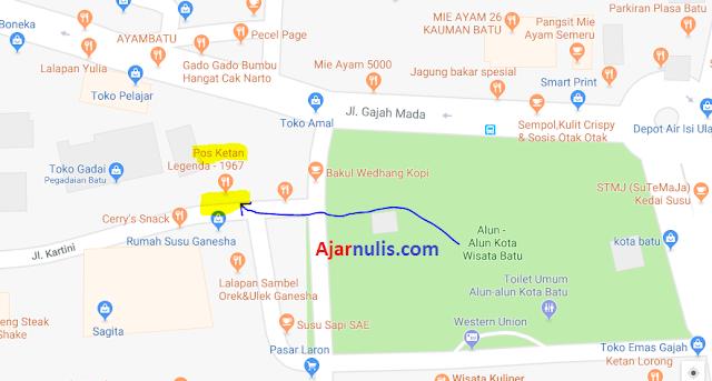 Peta Lokasi Penjemputan Ojek Online di Alun-Alun Batu Malang