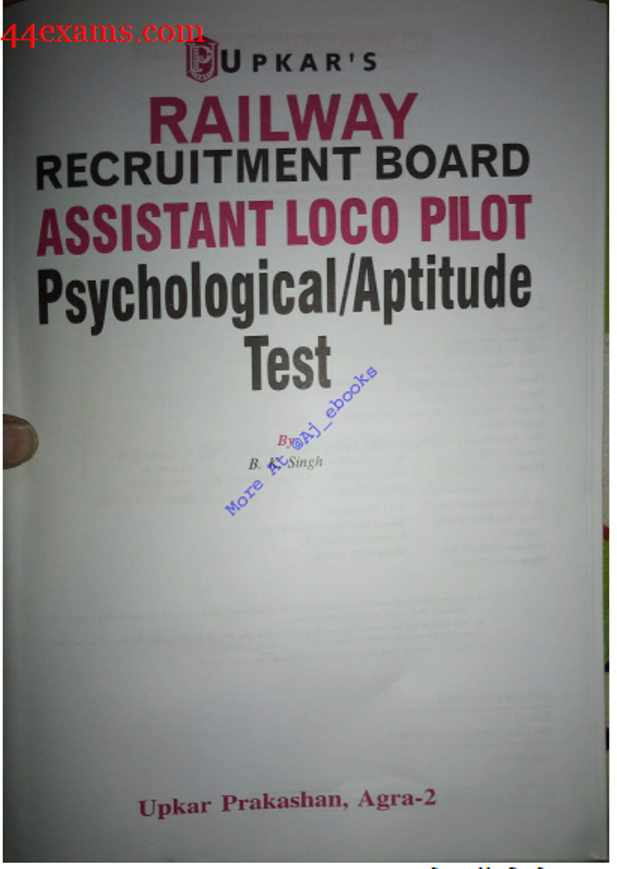 RRB Assistant Loco Pilot Psychological/Aptitude Test By Upkar Publication : For Railway Exam PDF Book