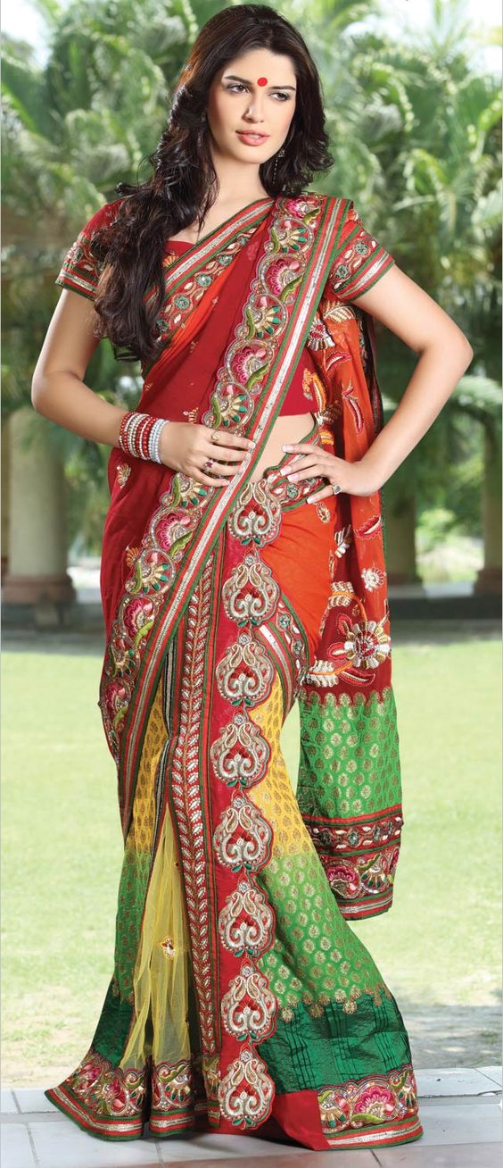 Red and Green Heavily Embroidered Lehenga Saree