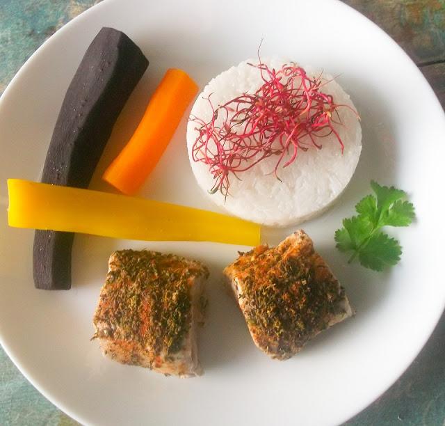 ryż jaśminowy do obiadu z polędwiczkami i kiełkami buraka