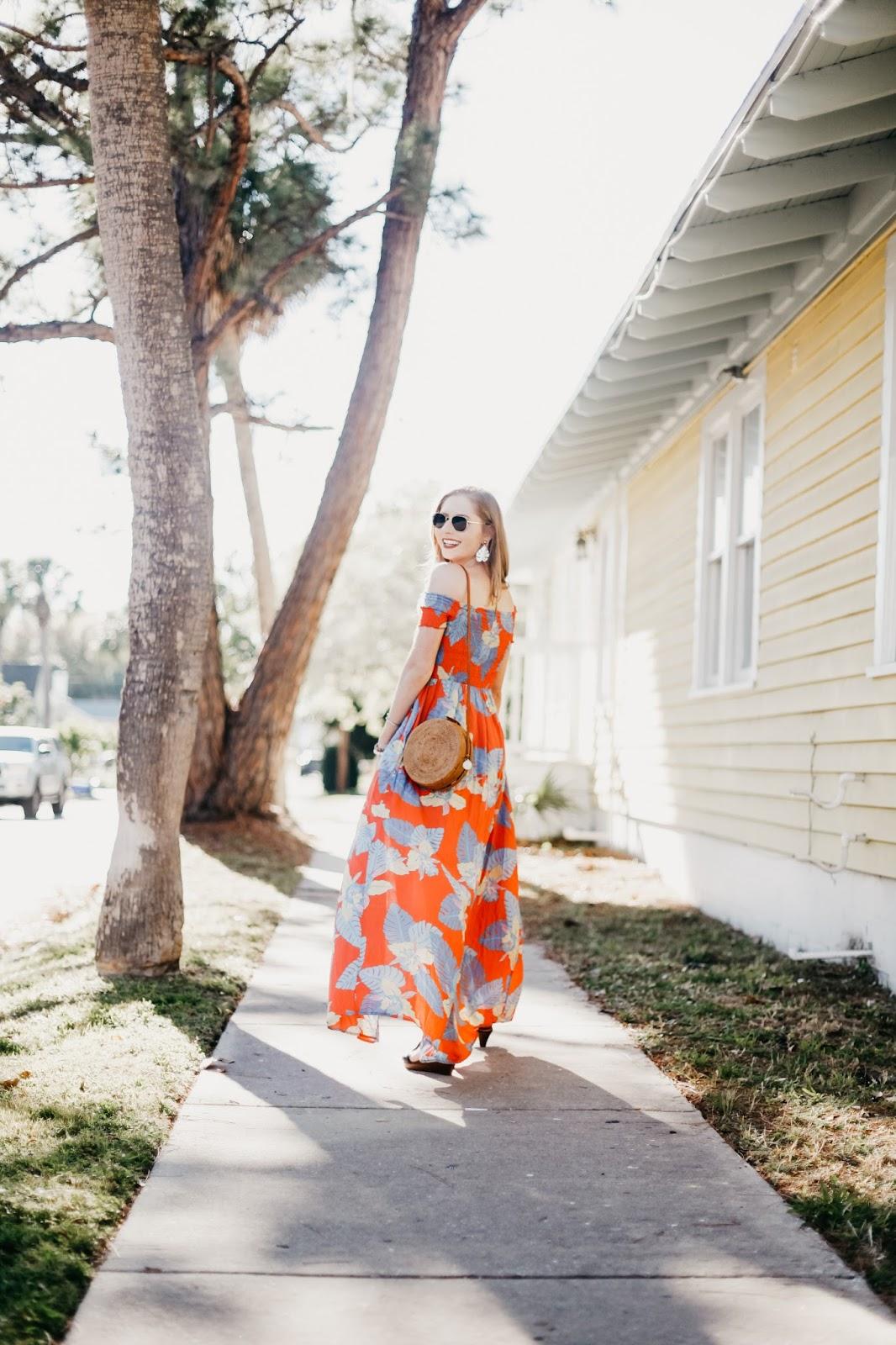 lulus patsy coral print dress