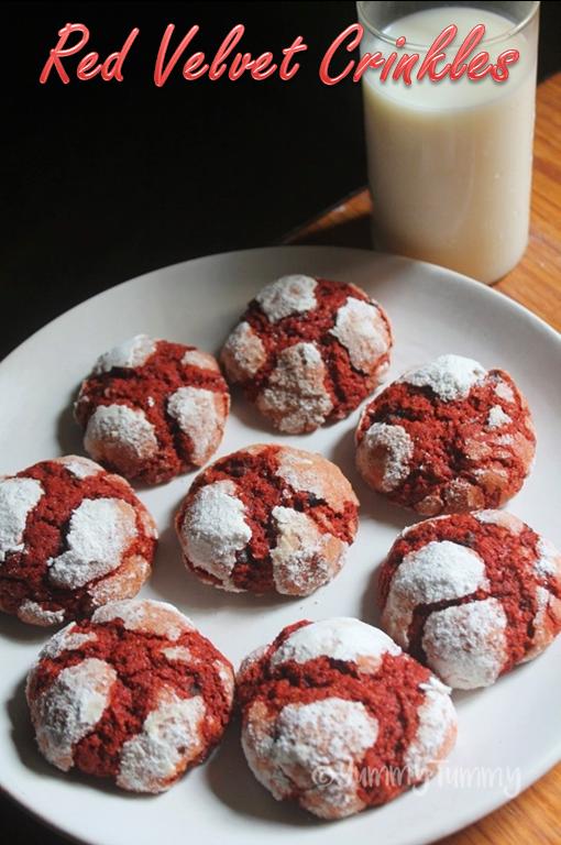 Red Velvet Crinkles Recipe Red Velvet Crinkle Cookies Recipe