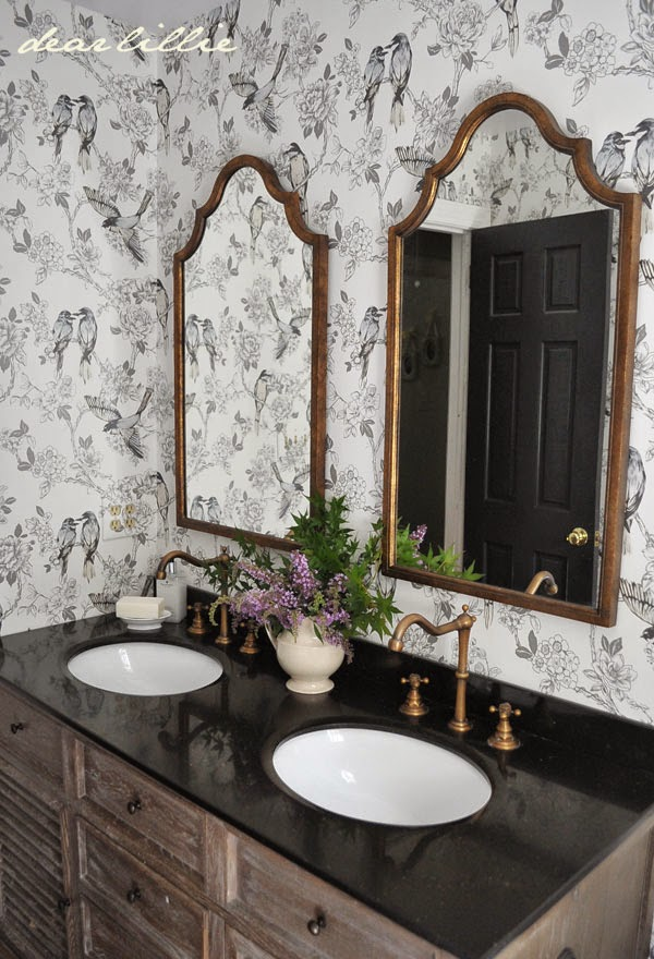black and white bird wallpaper in bathroom
