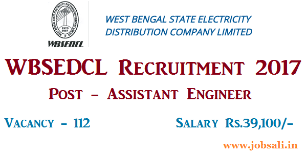 wbsedcl assistant engineer vacancy 2017, wbsedcl recruitment through gate 2017, wbsedcl career