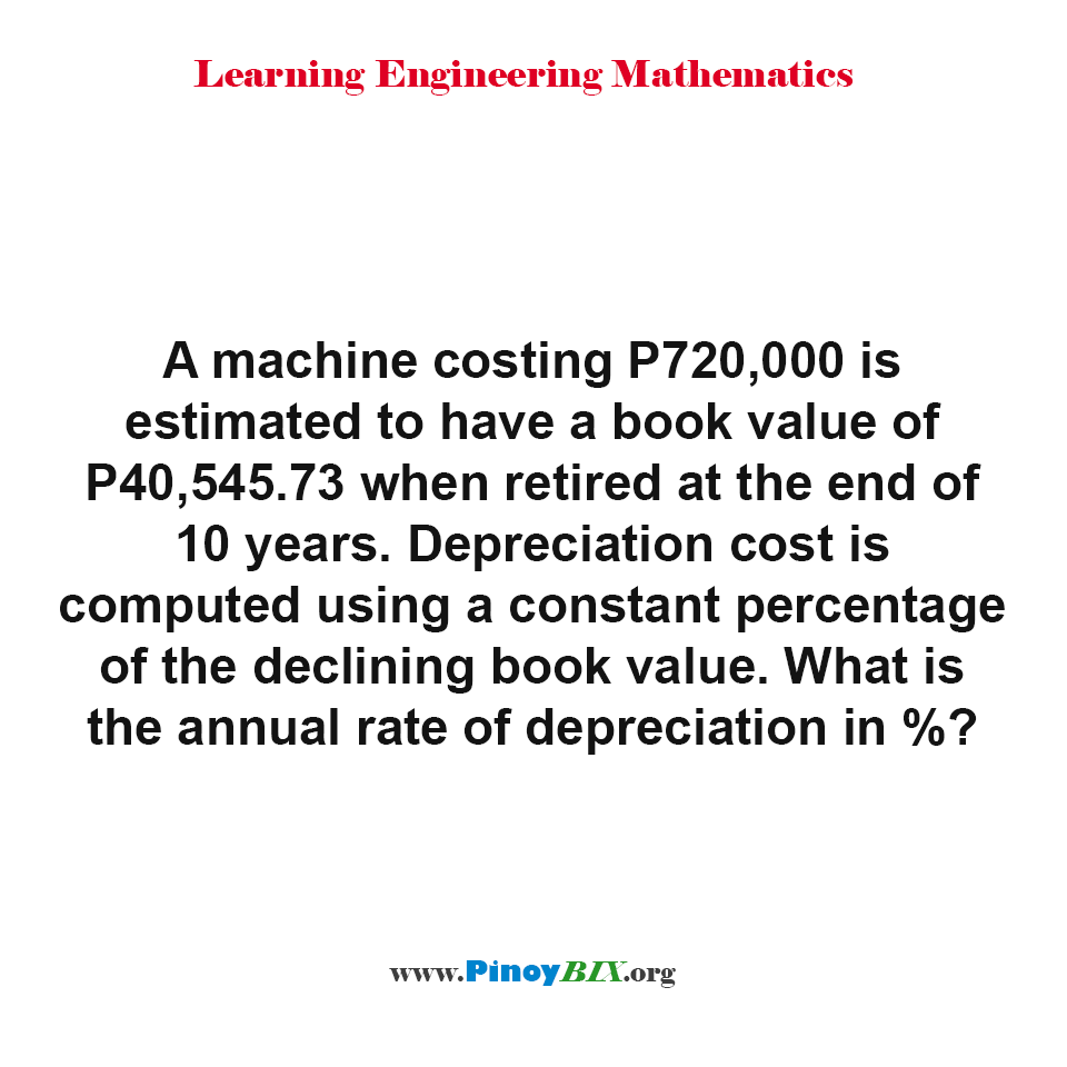 What is the annual rate of depreciation of the machine in percentage?