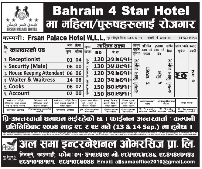 Jobs in Bahrain for Nepali, Salary Rs 40,951